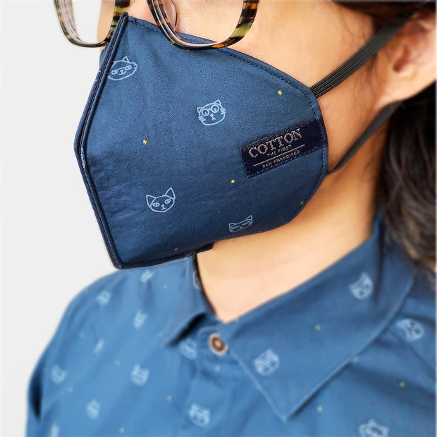 Reusable face masks with Kitty pattern made with three layers of cotton fabric, adjustable straps, soft and comfortable, easy to breathe. Made in the USA.
