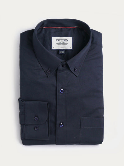 Cotton the First Slim Fit dress shirt. Shop local San Francisco Style. Unique prints, Navy Twill.
