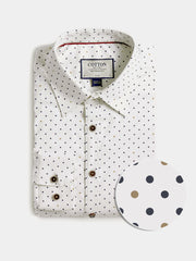 Cotton the First Slim Fit shirt. Shop local San Francisco style. Stretch Polka dot, fun print, performance fabric, with wood button