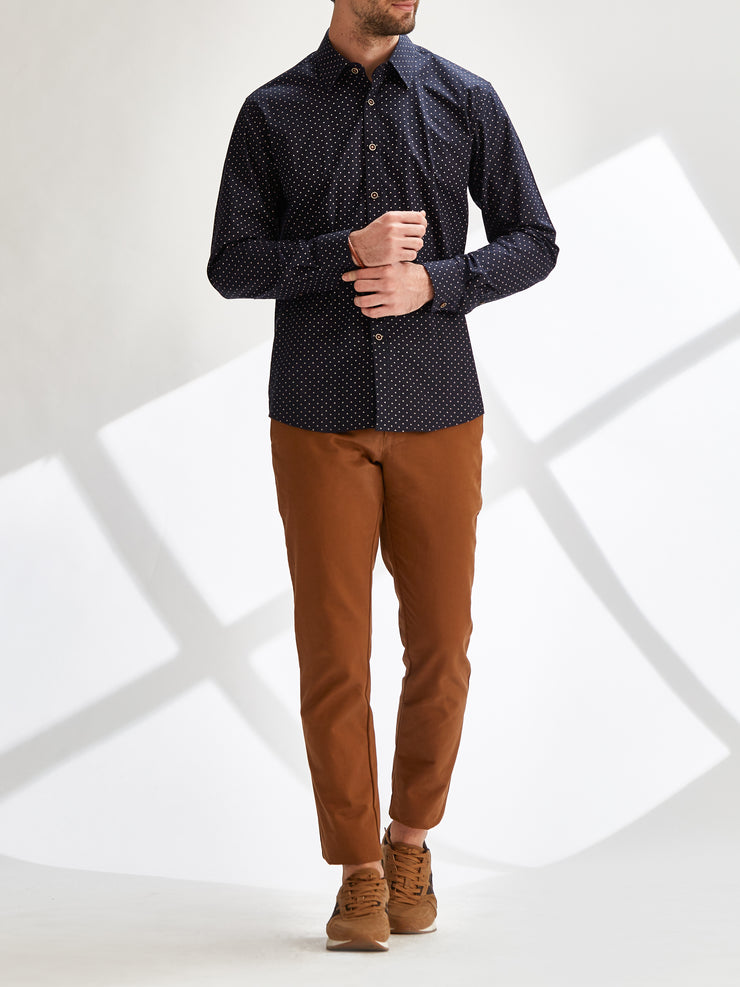Cotton the First Slim Fit shirt. Shop local San Francisco style. Triangle print poplin, wood button, great details.