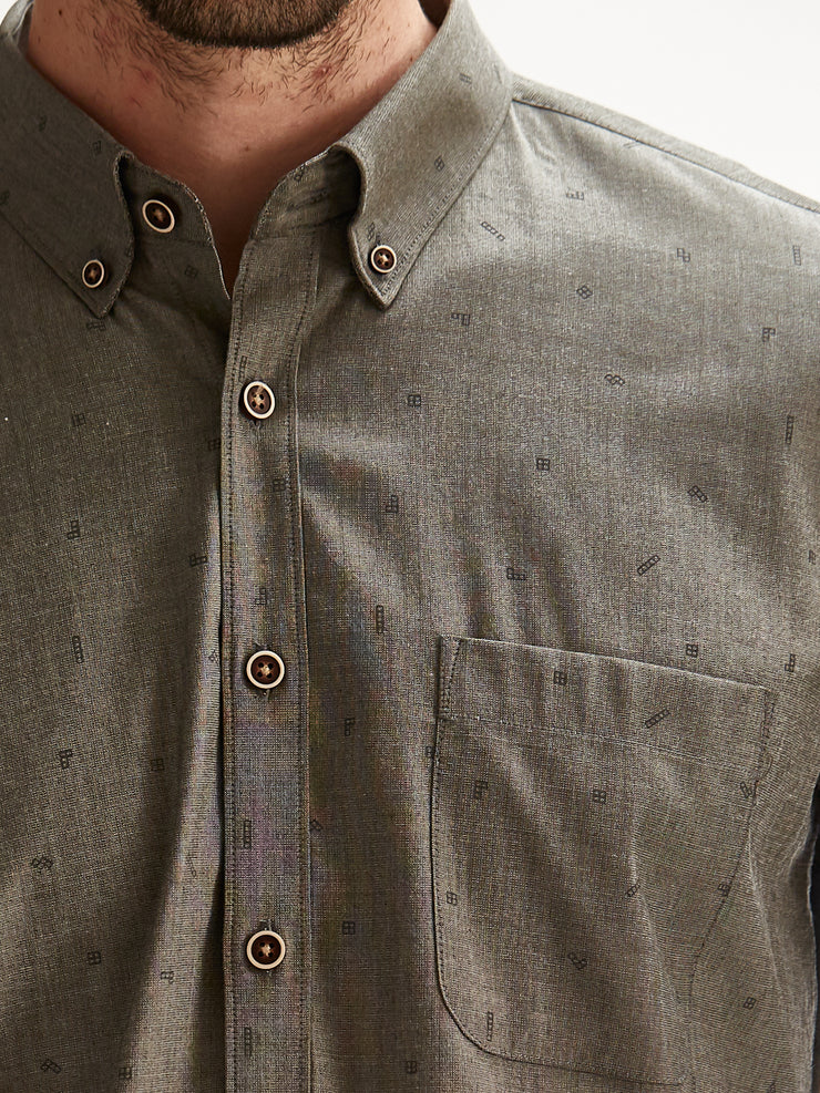Cotton the First Slim Fit shirt. Shop local San Francisco style. Stretch tetris, fun print, performance fabric, with wood button