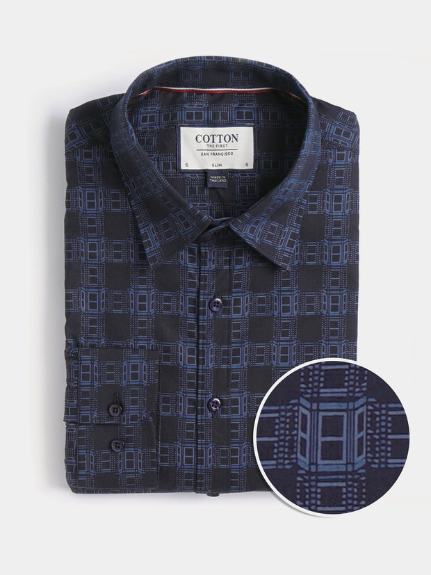 Cotton the First Slim Fit dress shirt. Shop local San Francisco Style. Unique prints, Navy Plaid.
