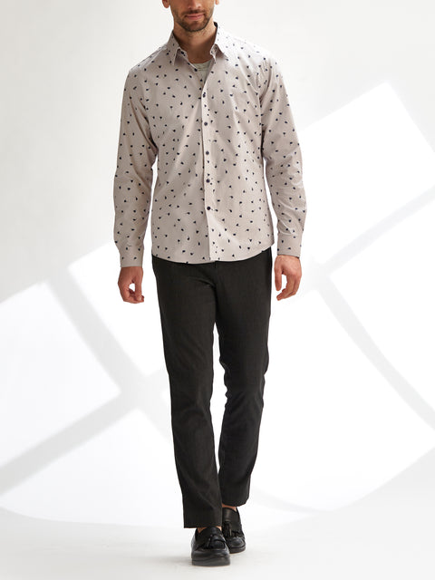 Cotton the First Slim Fit shirt. Shop local San Francisco style. Umbrella Swirl on poplin, fun print, with navy button