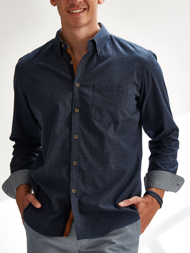 Cotton the First Slim Fit shirt. Shop local San Francisco style. Deep blue chambray, wood button, blue orange trim.