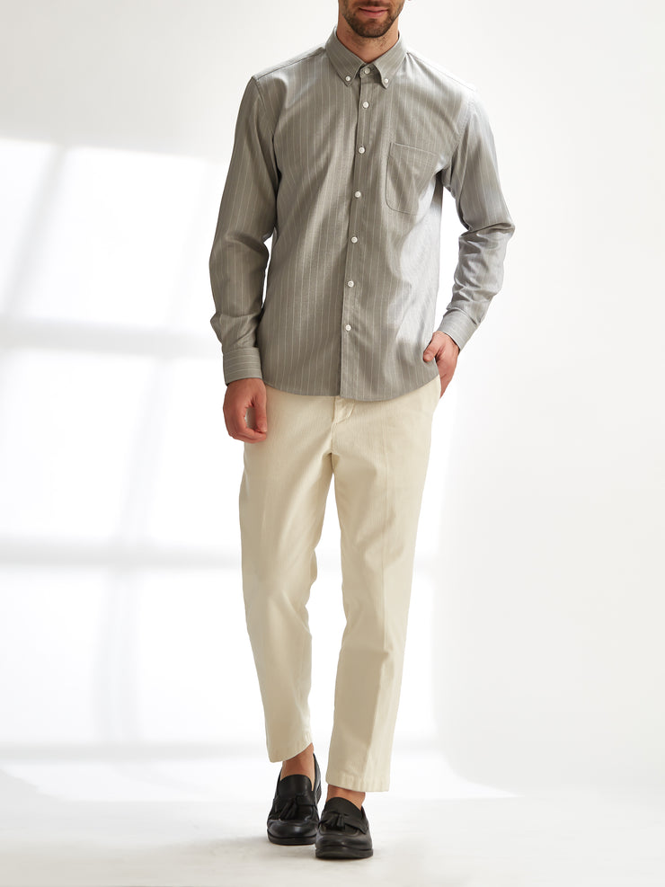 Cotton the First Slim Fit shirt. Shop local San Francisco style. Stretch beige stripe, light performance fabric.