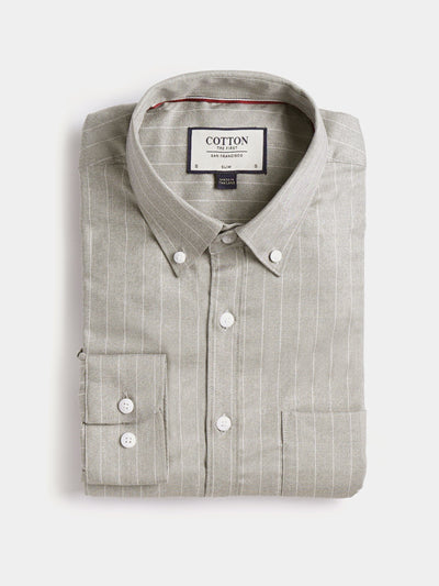 Cotton the First Slim Fit shirt. Shop local San Francisco style. Stretch beige stripe, light performance fabric..