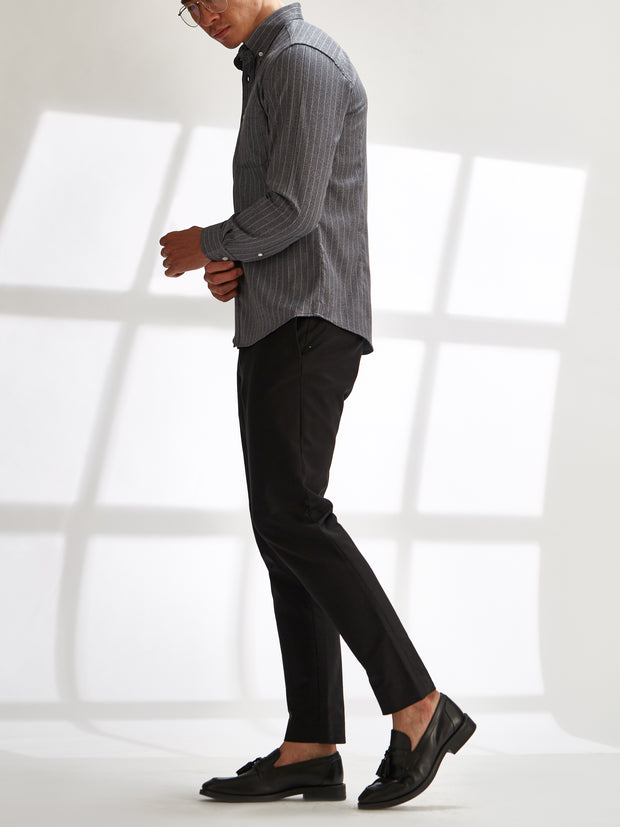 Cotton the First Slim Fit shirt. Shop local San Francisco style. Stretch Grey stripe, performance fabric.