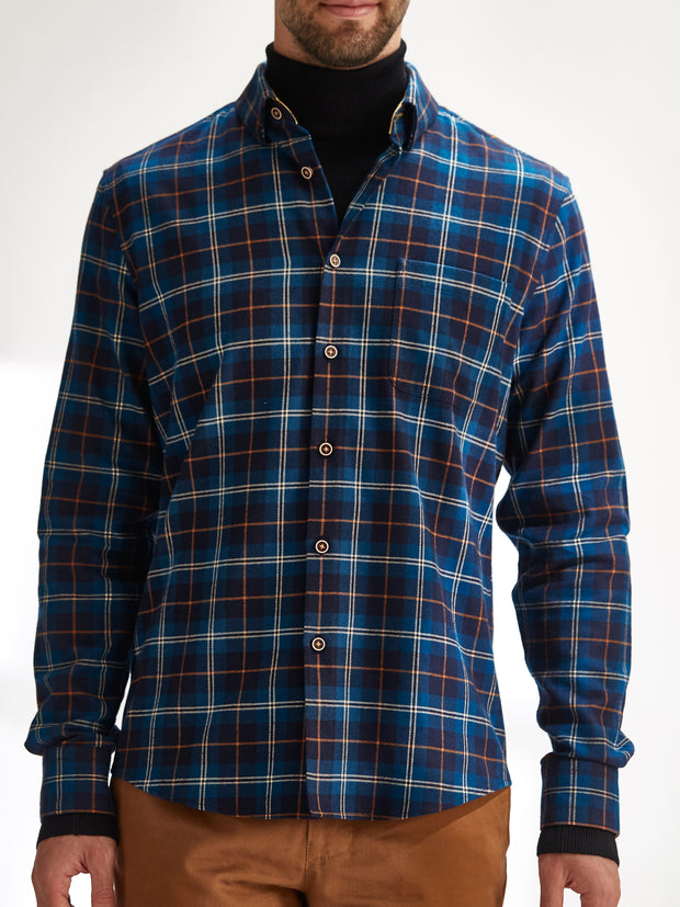 Cotton the First Slim Fit shirt. Shop local San Francisco style. Yellow accent on Blue Orange Plaid flannel wood button.