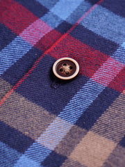 Cotton the First Slim Fit shirt. Shop local San Francisco style. Yellow accent on Red Blue Plaid flannel wood button.