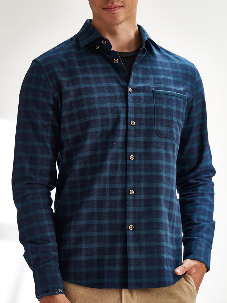 Cotton the First Slim Fit shirt. Shop local San Francisco style. Green flannel Plaid wood button, elbow patch