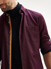 Cotton the First Slim Fit dress shirt. Shop local San Francisco style. Burgundy flannel wood button