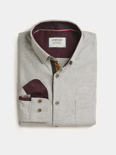 Cotton the First Slim Fit shirt. Shop local San Francisco style. Grey flannel wood button, blue orange trim.