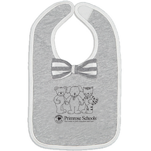 "479 Grey Knit ""3 Friends"" Bow Bib"
