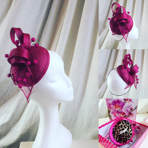 pink hat, pink berries, fuschia,round base hat , headpiece,with sinamay swirl in raspberry, tocado