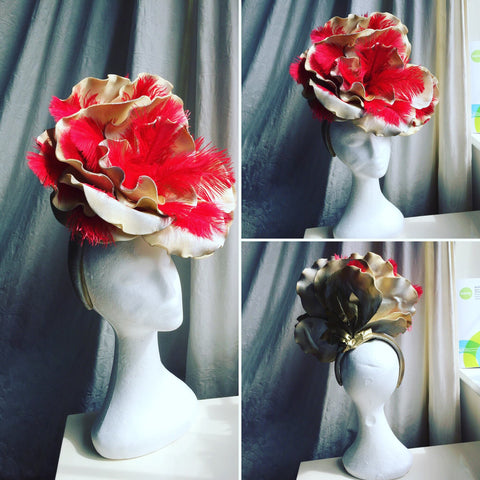 large red and gold rose hat, horse racing, ladies day,best dressed,ostrich ,feather, headband, crown, millinery