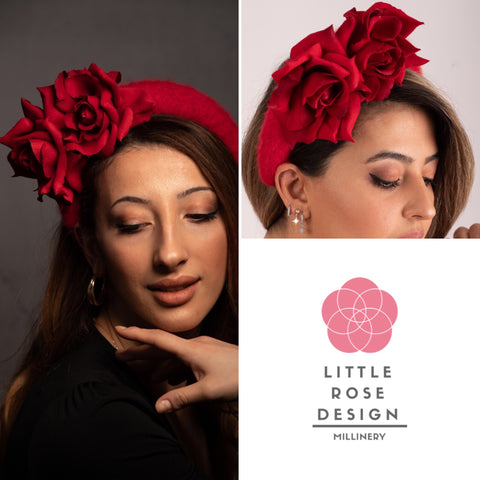 Red angora crown headband with two beautiful scarlet red roses , a gorgeous headpiece sure to glean admiring glances at any wedding or horse racing event.
