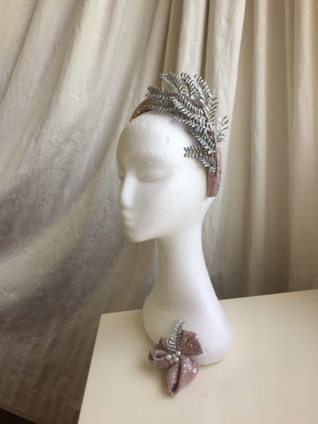 pink and silver crown headband, headpiece, hat, millinery,vine,bespoke, commission, order today,commission,sparkle