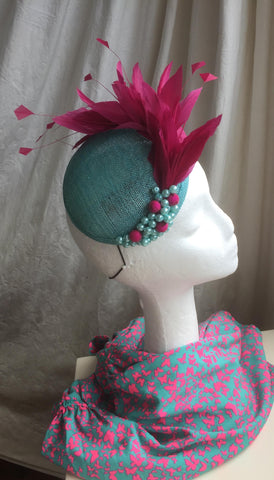 aqua, turquoise and hot pink headpiece, with feather mount, pearl and hot pink fuschia berry detail, the fiona, round smartie base, little rose design millinery, bespoke