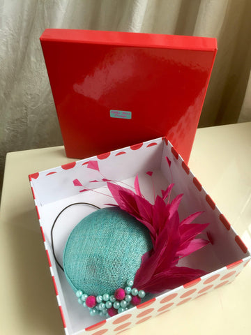 little rose design headpiece in box, beautiful packaging, dispatch, delivery,aqua and hot pink hat, little rose design millinery original