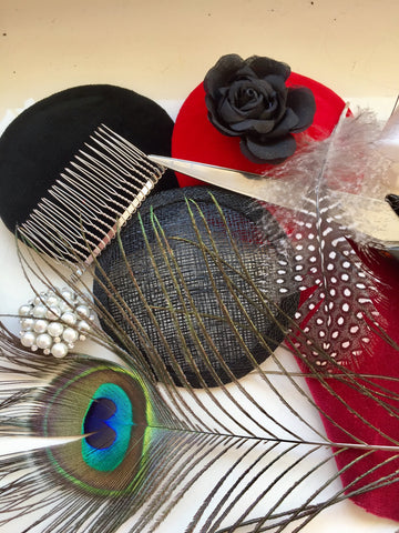 millinery materials, peacock feathers, bases, feathers, combs,hat, headpiece, fascinator making class, little rose design , teaching, tutor,