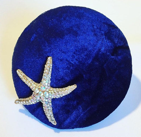 blue round velvet base, 13 cm,with diamante starfish, on a comb attachment,small headpiece, disk, royal blue velvet, hat, fascinator, retro, vintage inspiration, mini hat,little rose design millinery