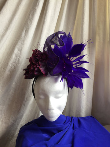 large horse racing, ladies day, headpiece, purple and blue, feather mount,sinamay swirls,ascot, epsom, punchestown, equestrian style, dublin horse show, racing fashion, modern piece, sculptural, edgy , original little rose design milinery