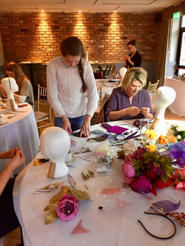 fascinator making class, village hotel, three hour class, hen party, groups, forty euro per person,headpiece, tutoring, millinery