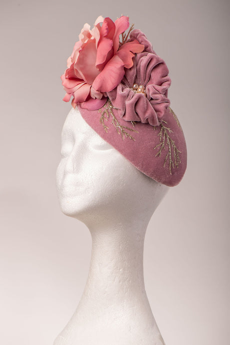 Dusky Pink Velvet Rose Headpiece.