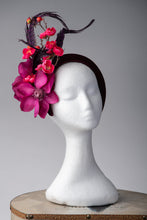 Load image into Gallery viewer, wine headband headpiece,with purple , pink, flowers, magenta, pheasant feathers,cherry blossom,on trend headband crown, millinery