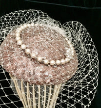 Load image into Gallery viewer, Sequin and pearl pillbox style headpiece with birdcage.
