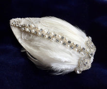 Load image into Gallery viewer, Diamante and ivory feather bridal headpiece.