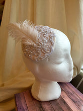 Load image into Gallery viewer, Bridal headpiece with ostrich feather.