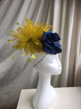 Load image into Gallery viewer, Blue silk rose and mustard headpiece.