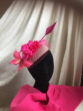 Load image into Gallery viewer, Hot pink and pewter grey arrow headpiece.