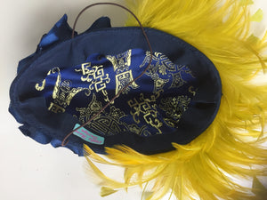 Blue silk rose and mustard headpiece.