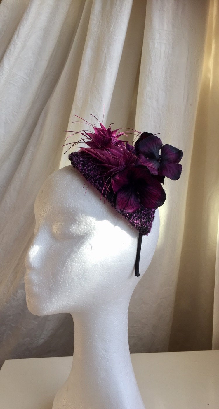 Purple and pink tweed teardrop headpiece.