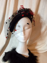 Load image into Gallery viewer, Black and red diamond headpiece with birdcage.
