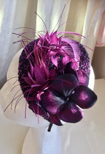 Load image into Gallery viewer, Purple and pink tweed teardrop headpiece.