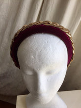 Load image into Gallery viewer, Wine velvet headband with gold metal braid.