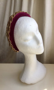 Wine velvet headband with gold metal braid.
