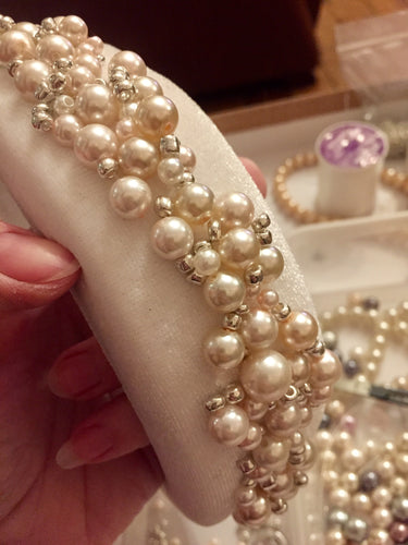 Ivory pearl and silver beaded crown headband