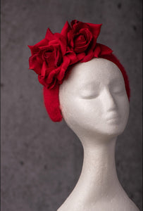 Red Rose and Angora Crown Headband.
