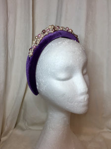 Hand beaded Pearl Velvet Headbands
