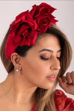 Load image into Gallery viewer, Red Rose and Angora Crown Headband.