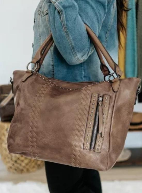 RTS Vegan Leather oversized tote- Apricot brown