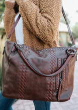 Load image into Gallery viewer, Vegan leather oversized totes- Brown