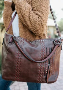 Vegan leather oversized totes- Brown