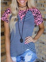 Load image into Gallery viewer, Pink leopard striped shortsleeve