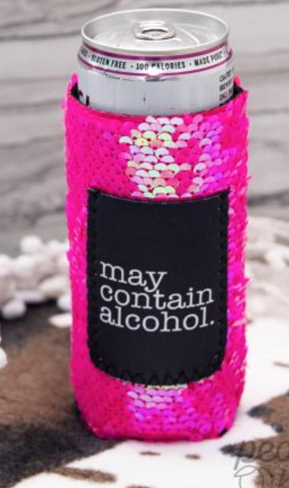 May Contain Alcohol Sequin Skinny Koozie
