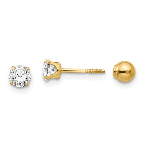 Reversible CZ & Ball Screwback